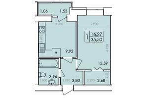 ЖК Ранкове Family: планування 1-кімнатної квартири 36.93 м²