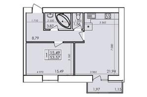 ЖК Ранкове Family: планування 1-кімнатної квартири 53.57 м²