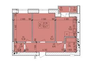ЖК Ранкове Family: планировка 2-комнатной квартиры 57.58 м²