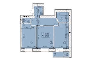 ЖК Ранкове Family: планировка 2-комнатной квартиры 62.9 м²