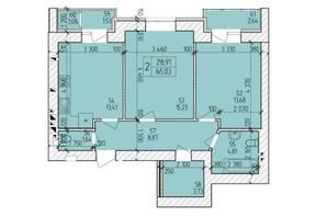 ЖК Ранкове Family: планировка 2-комнатной квартиры 67.39 м²