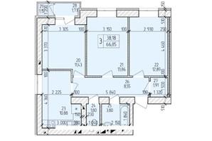 ЖК Ранкове Family: планировка 3-комнатной квартиры 69.02 м²