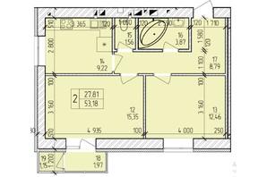 ЖК Ранкове Family: планировка 2-комнатной квартиры 54.55 м²