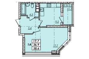 ЖК RealPark: планування 1-кімнатної квартири 38.6 м²