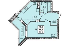 ЖК RealPark: планування 1-кімнатної квартири 39.1 м²