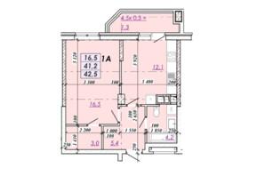 ЖК RealPark: планування 1-кімнатної квартири 42.5 м²