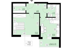 ЖК Ренессанс: планировка 1-комнатной квартиры 44.3 м²