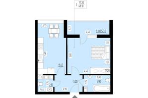 ЖК Ренессанс: планировка 1-комнатной квартиры 48.1 м²