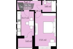 ЖК Resident Hall: планування 1-кімнатної квартири 36.36 м²