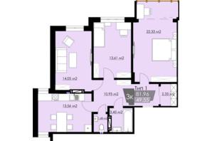 ЖК Resident Hall: планування 3-кімнатної квартири 81.96 м²
