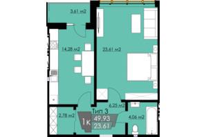ЖК Resident Hall: планування 1-кімнатної квартири 49.93 м²