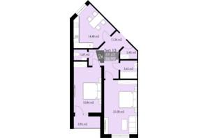 ЖК Resident Hall: планування 2-кімнатної квартири 69.63 м²