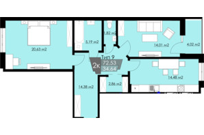 ЖК Resident Hall: планування 2-кімнатної квартири 72.53 м²