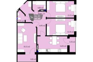 ЖК Resident Hall: планування 3-кімнатної квартири 86.5 м²