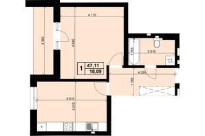 ЖК Resident Hall: планування 1-кімнатної квартири 47.11 м²