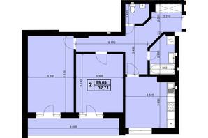ЖК Resident Hall: планування 2-кімнатної квартири 70 м²