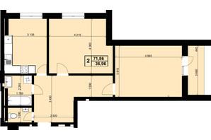 ЖК Resident Hall: планування 2-кімнатної квартири 71.86 м²