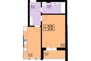 ЖК Resident Hall: планування 1-кімнатної квартири 45.98 м²