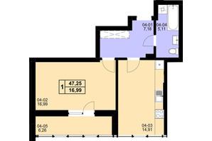 ЖК Resident Hall: планування 1-кімнатної квартири 47.25 м²