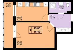 ЖК Resident Hall: планування 1-кімнатної квартири 40.24 м²
