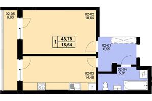 ЖК Resident Hall: планування 1-кімнатної квартири 48.78 м²