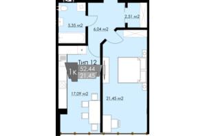 ЖК Resident Hall: планування 1-кімнатної квартири 50.42 м²