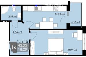 ЖК Resident Hall: планировка 1-комнатной квартиры 43.25 м²