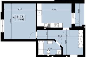 ЖК Resident Hall: планировка 1-комнатной квартиры 51.78 м²