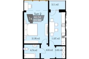 ЖК Resident Hall: планировка 1-комнатной квартиры 46.04 м²