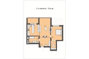 ЖК Residents Park: планировка 2-комнатной квартиры 75 м²