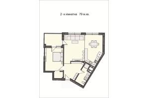 ЖК Residents Park: планировка 2-комнатной квартиры 79 м²