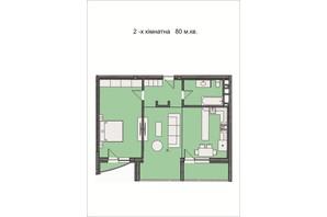 ЖК Residents Park: планування 2-кімнатної квартири 80 м²