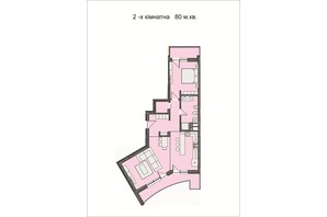 ЖК Residents Park: планировка 2-комнатной квартиры 80 м²