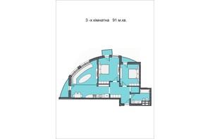 ЖК Residents Park: планування 3-кімнатної квартири 91 м²