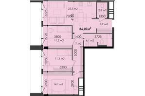 ЖК Respect Hall: планування 3-кімнатної квартири 86.07 м²