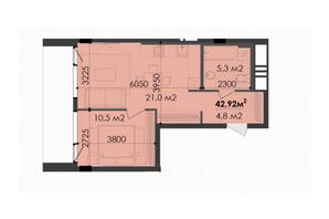 ЖК Respect Hall: планування 1-кімнатної квартири 43.57 м²