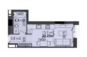 ЖК Respect Hall: планування 1-кімнатної квартири 24.89 м²