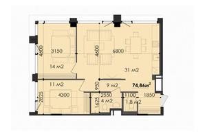 ЖК Respect Hall: планування 3-кімнатної квартири 75.1 м²