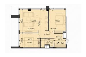 ЖК Respect Hall: планування 2-кімнатної квартири 67.11 м²