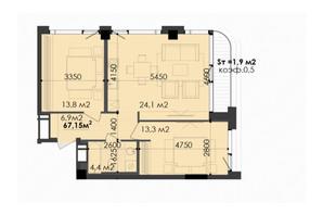 ЖК Respect Hall: планування 2-кімнатної квартири 67.56 м²
