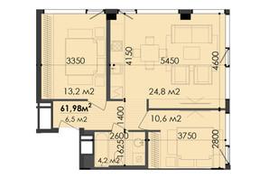 ЖК Respect Hall: планування 2-кімнатної квартири 61.98 м²