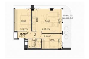 ЖК Respect Hall: планування 2-кімнатної квартири 66.82 м²