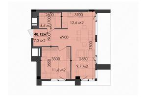 ЖК Respect Hall: планування 2-кімнатної квартири 48.12 м²