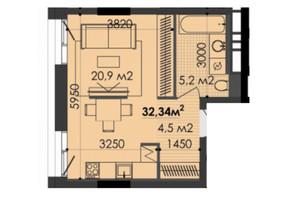ЖК Respect Hall: планування 1-кімнатної квартири 32.7 м²