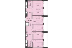ЖК Respect Hall Респект Холл: планування 3-кімнатної квартири 123.33 м²