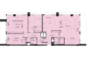 ЖК Respect Hall Респект Холл: планування 3-кімнатної квартири 134.48 м²