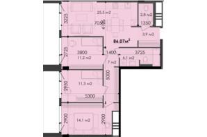 ЖК Respect Hall Респект Холл: планування 3-кімнатної квартири 86.07 м²