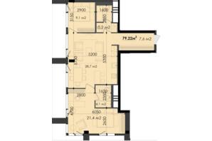 ЖК Respect Hall Респект Холл: планування 3-кімнатної квартири 79.22 м²