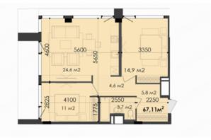 ЖК Respect Hall Респект Холл: планування 2-кімнатної квартири 67.11 м²