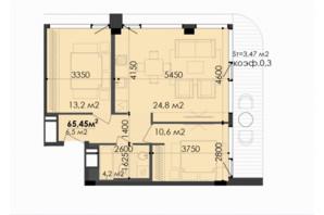 ЖК Respect Hall Респект Холл: планування 2-кімнатної квартири 65.45 м²